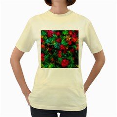 Squiggly Abstract B Women s Yellow T Shirt