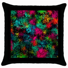 Squiggly Abstract B Throw Pillow Case (black)