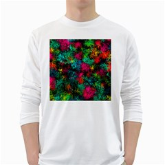 Squiggly Abstract B White Long Sleeve T Shirts