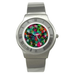 Squiggly Abstract B Stainless Steel Watch
