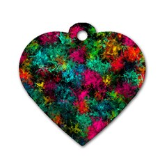 Squiggly Abstract B Dog Tag Heart (one Side)