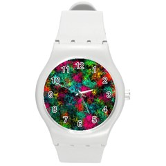 Squiggly Abstract B Round Plastic Sport Watch (m)