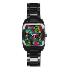 Squiggly Abstract B Stainless Steel Barrel Watch