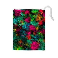 Squiggly Abstract B Drawstring Pouches (large)