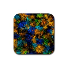 Squiggly Abstract C Rubber Square Coaster (4 Pack)