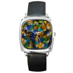 Squiggly Abstract C Square Metal Watch