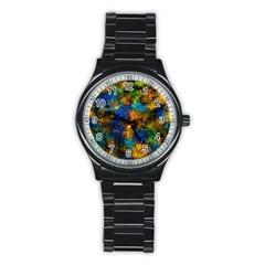 Squiggly Abstract C Stainless Steel Round Watch