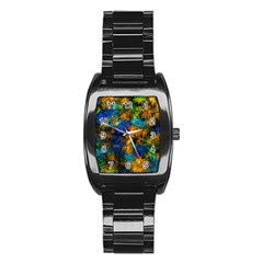 Squiggly Abstract C Stainless Steel Barrel Watch
