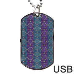 Retro Vintage Bleeding Hearts Pattern Dog Tag Usb Flash (one Side)