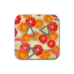 Citrus Play Rubber Square Coaster (4 Pack)