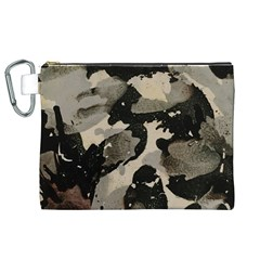Black And White Splatter Canvas Cosmetic Bag (xl)