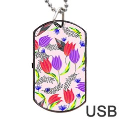 Floral Paradise Dog Tag Usb Flash (two Sides)