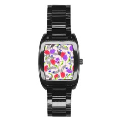 Floral Paradise Stainless Steel Barrel Watch