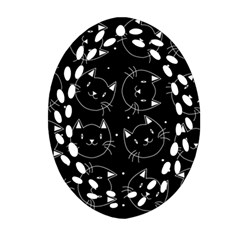 Halloween Black Cats Oval Filigree Ornament (two Sides)
