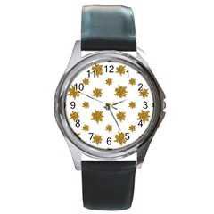 Graphic Nature Motif Pattern Round Metal Watch
