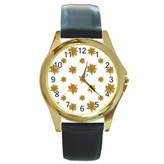 Graphic Nature Motif Pattern Round Gold Metal Watch