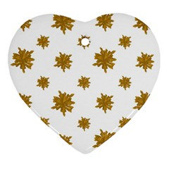 Graphic Nature Motif Pattern Heart Ornament (two Sides)