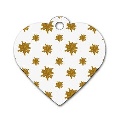 Graphic Nature Motif Pattern Dog Tag Heart (two Sides)