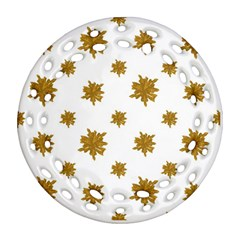 Graphic Nature Motif Pattern Round Filigree Ornament (two Sides)