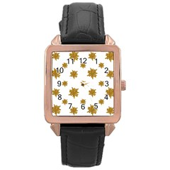 Graphic Nature Motif Pattern Rose Gold Leather Watch