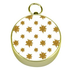 Graphic Nature Motif Pattern Gold Compasses