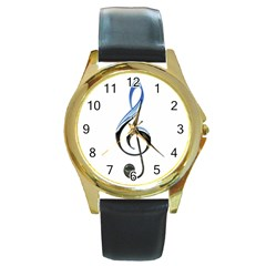 Musical Note  Round Gold Metal Watch