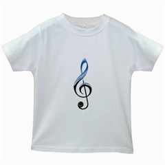 Musical Note  Kids White T Shirts