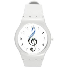 Musical Note  Round Plastic Sport Watch (m)