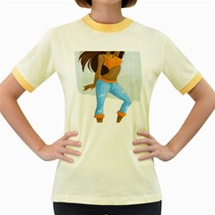 Sexy Woman Women s Fitted Ringer T Shirts