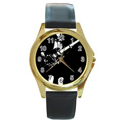 Angus Young  Round Gold Metal Watch