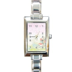 Romantic Watercolor Books And Flowers Rectangle Italian Charm Watch