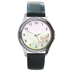 Romantic Watercolor Books And Flowers Round Metal Watch
