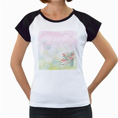 Romantic Watercolor Books And Flowers Women s Cap Sleeve T
