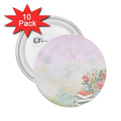 Romantic Watercolor Books And Flowers 2 25  Buttons (10 Pack)