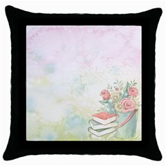 Romantic Watercolor Books And Flowers Throw Pillow Case (black)