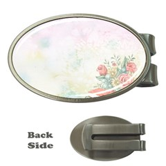 Romantic Watercolor Books And Flowers Money Clips (oval)