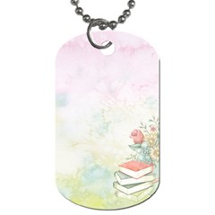 Romantic Watercolor Books And Flowers Dog Tag (one Side)