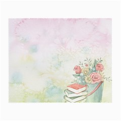 Romantic Watercolor Books And Flowers Small Glasses Cloth
