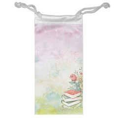 Romantic Watercolor Books And Flowers Jewelry Bag