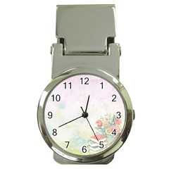Romantic Watercolor Books And Flowers Money Clip Watches