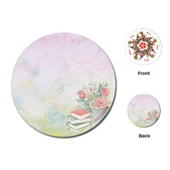 Romantic Watercolor Books And Flowers Playing Cards (round)