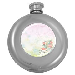 Romantic Watercolor Books And Flowers Round Hip Flask (5 Oz)