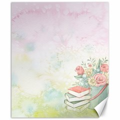 Romantic Watercolor Books And Flowers Canvas 8  X 10