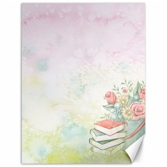 Romantic Watercolor Books And Flowers Canvas 12  X 16