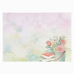 Romantic Watercolor Books And Flowers Large Glasses Cloth (2 Side)