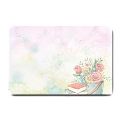 Romantic Watercolor Books And Flowers Small Doormat
