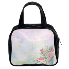 Romantic Watercolor Books And Flowers Classic Handbags (2 Sides)
