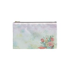 Romantic Watercolor Books And Flowers Cosmetic Bag (small)