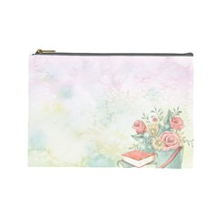 Romantic Watercolor Books And Flowers Cosmetic Bag (large)