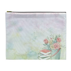 Romantic Watercolor Books And Flowers Cosmetic Bag (xl)